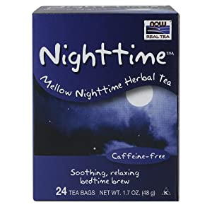 NOW Foods, Nighttime Tea, Mellow Nighttime Herbal Tea, Soothing, Relaxing Brew Before Bedtime, Premium Unbleached Tea Bags with No-Staples Design, 24-Count