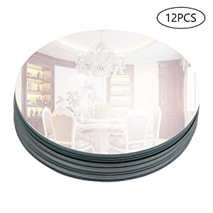 """Murrey Home 12 Pack 10"""" Round Mirror Tray/Plate for Wedding, Christmas and Party Décor"""