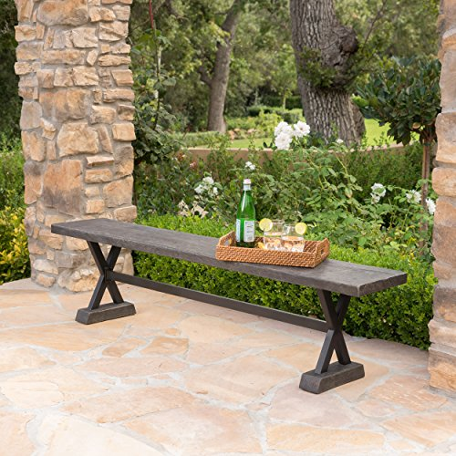 Catelyn Outdoor Concrete and Steel Dining Bench (Brown) For Sale