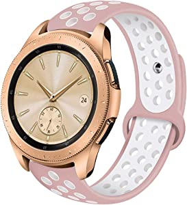 VIGOSS Compatible Galaxy 42mm Watch Band/Galaxy Active 40mm Watch Bands - 20mm Silicone Strap Wristband for Samsung Galaxy Active 40mm Watch/Galaxy 42mm Watch R810 (Pink/White, S/M)
