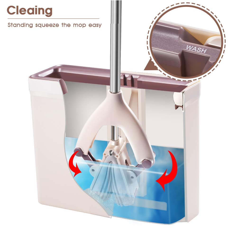 Sponge Mop and Bucket with 3 Pcs Super Absorbent PVA Sponge Head Self Cleaning Lazy Floor Mop Bucket with Washing Drying and storage by MASTERTOP (Image #3)