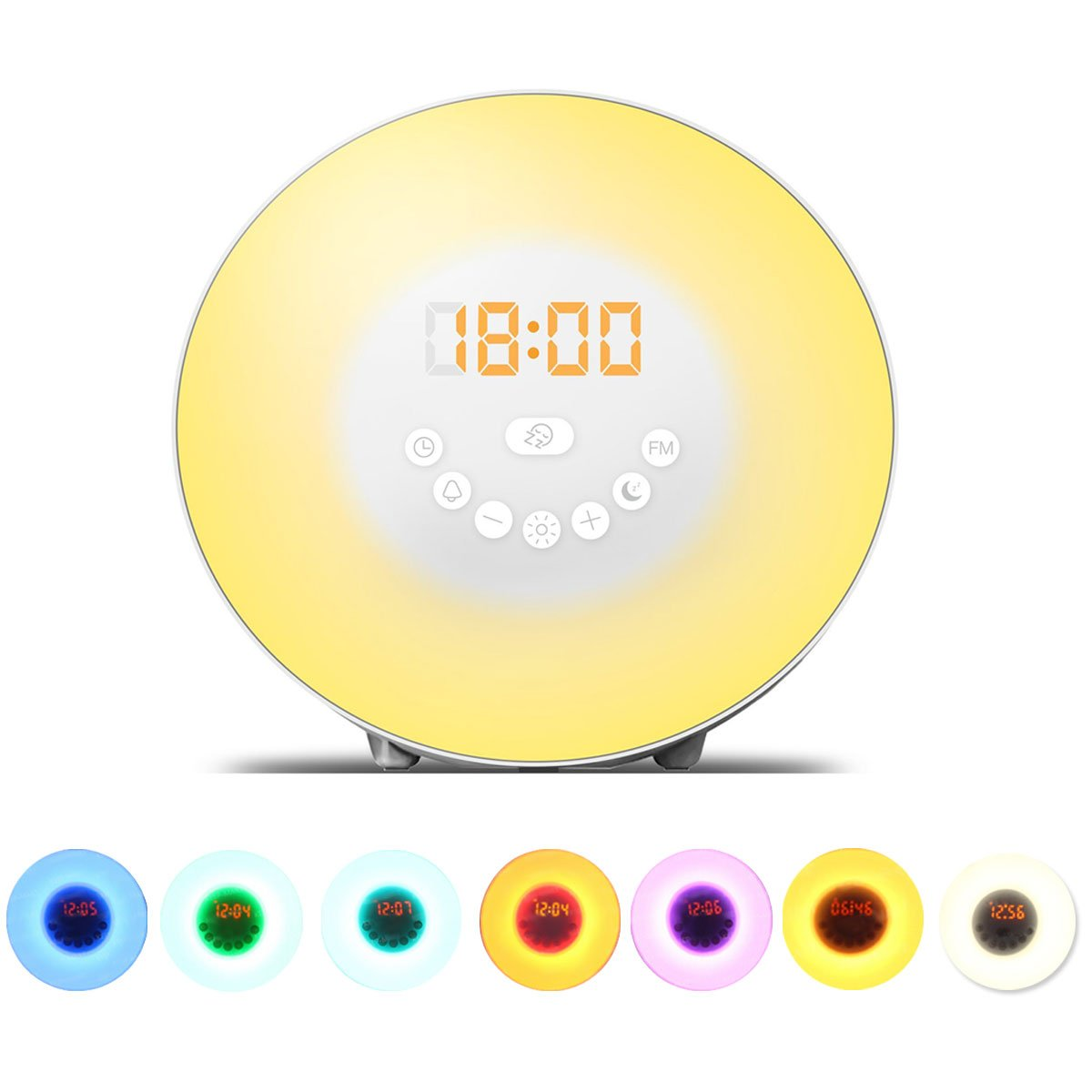 Dragon-Hub Digital Wake up Light Alarm Clock LED 7 Color Night Light Bedside Lamp with FM Radio Snoooze Function Touch Control Sunrise Sunset Simulation Nature Sounds for Heavy Sleepers Adults Kids