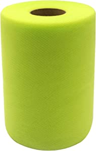 Tulle Fabric Rolls 6 Inch by 100 Yards (300 feet) Tulle Spool for Wedding Party Decorations Gift Bow Craft Tutu Skirt (Apple Green)