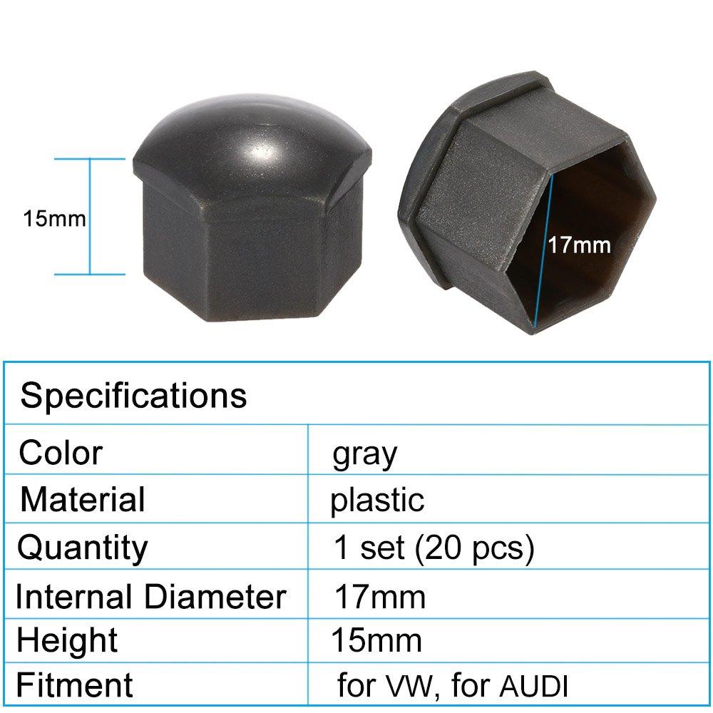 KKmoon Caps 20Pcs 17mm Car Wheel Nut Cover Bolt Cap Removal Tool for VW AUDI