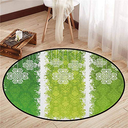 - Round Carpet,Irish,Aged Vintage Antique Figures on Green Toned Color Bands Celtic Historic Lace Image,Children Bedroom Rugs,4'3