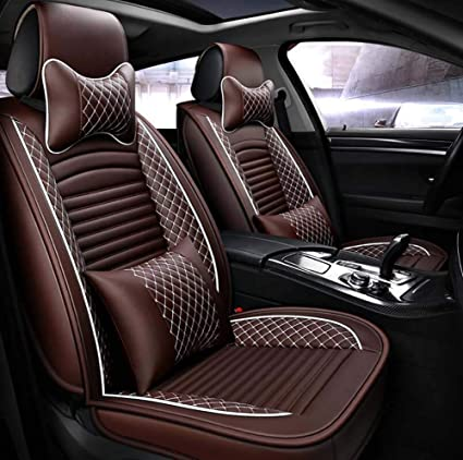 Car Seat Covers PU Leather 3D Fully Surrounded Soft Cushion Full Set 5 Seats Model Universal
