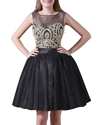 Heartgown Womens Beaded Gold Applique Puffy Junior Prom Dress Open Back Short Tulle As Picture US2