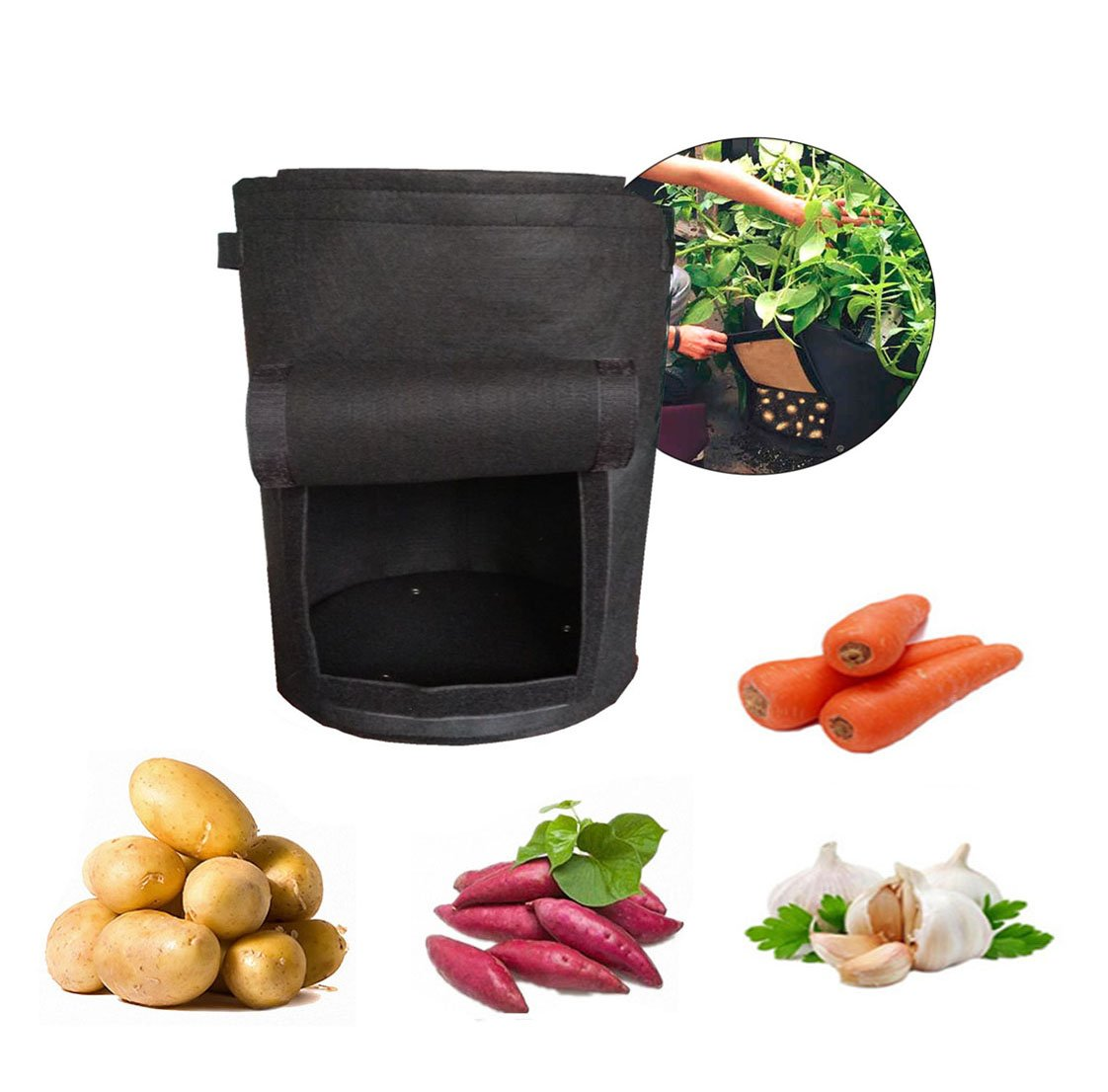 11'' x 11'' Potato Grow Bag 2-Pack Garden Vegetables Planter Bags with Flap and Handles Heavy Duty Suitable for Potato, Carrot, Tomato, Onion and More