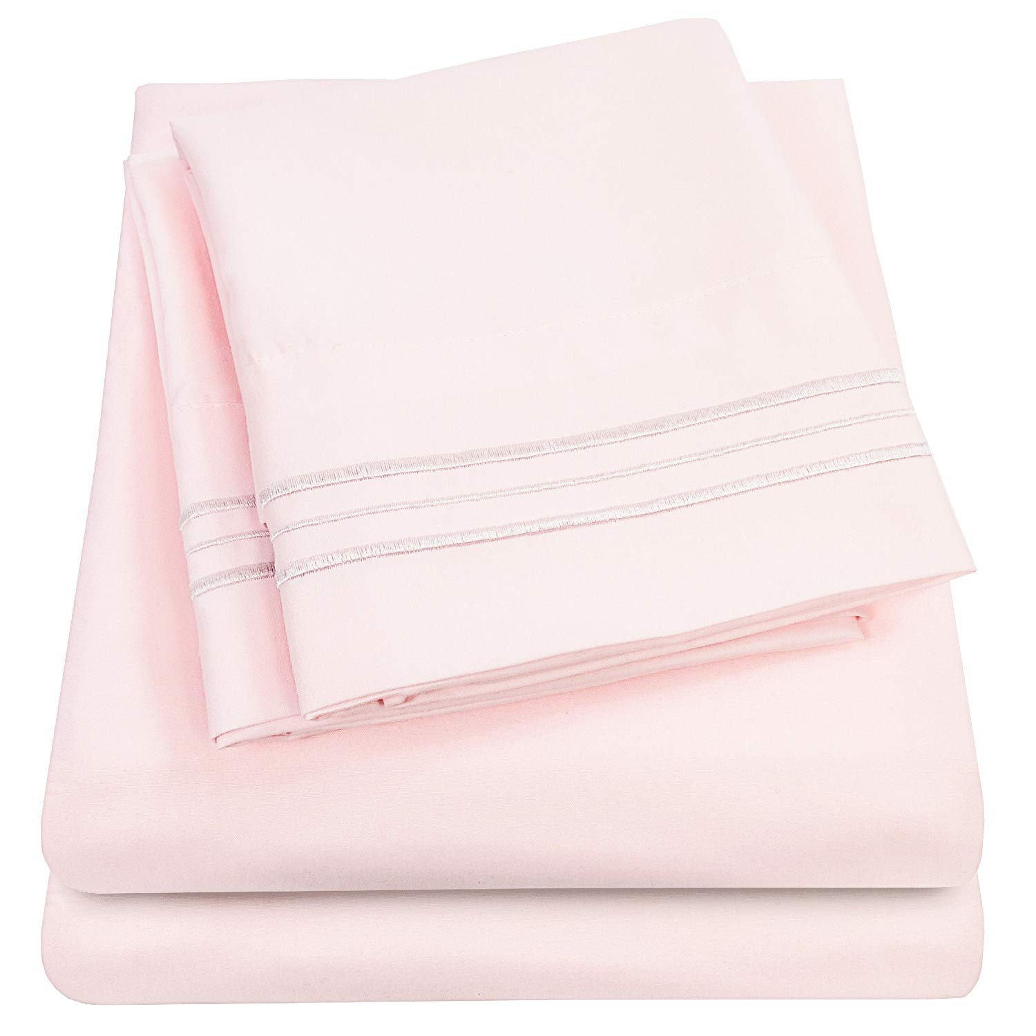 1500 Supreme Collection Extra Soft King Sheets Set, Pale Pink - Luxury Bed Sheets Set with Deep Pocket Wrinkle Free Hypoallergenic Bedding, Over 40 Colors, King Size, Pale Pink