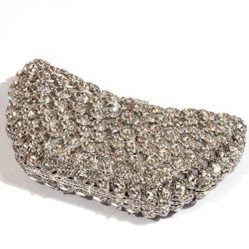 Purses women Evening Bags Big Crystal Wings Clutch Rhinestone Digabi Silver OwHZTH