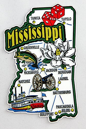 Mississippi State Map And Landmarks Collage Magnet Fmc