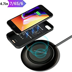 """Qi Wireless Charger Charging Pad,with Wireless Charging Receiver Case for iPhone 7/6/6S(4.7"""" Small Size),7.5W Fast Charging Station for iPhone 8 Plus/X/XS Max,10W Quick Charge for Samsung Note 9/8,S9"""
