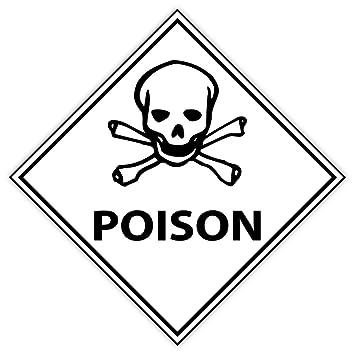 amazon com warning caution poison danger sign sticker decal 4 x 4