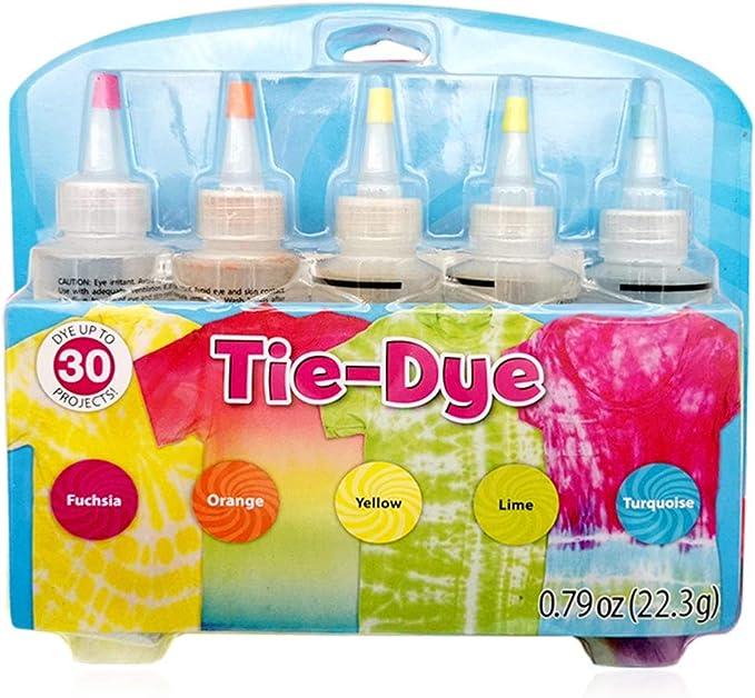 Sorlakar - Tie Dye Kit,5 Botellas Permanente Camisa Fabric Dye Spray Ropa de algodón y Lino Vibrante de un Solo Paso Tintes Permanentes con 40 Piezas de Bandas de Goma y 8