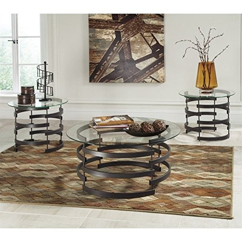 Ashley Furniture Signature Design - Kaymine Occasional Table Set - Contemporary - Set of 3 - Black - 3 Piece Round Coffee Table
