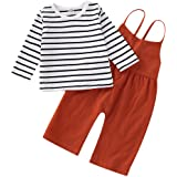 CARETOO Toddler Baby Girls Stripe Clothes Set, Long Sleeve Top + Strap Overalls Loose Jumpsuit Fall Outfits Boys Pants…