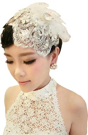 a8e0520c1d4 White Handmade Rhinestones Flower Crystal Lace Birdcage Hat Bridal Wedding  Veil B3  Amazon.co.uk  Clothing
