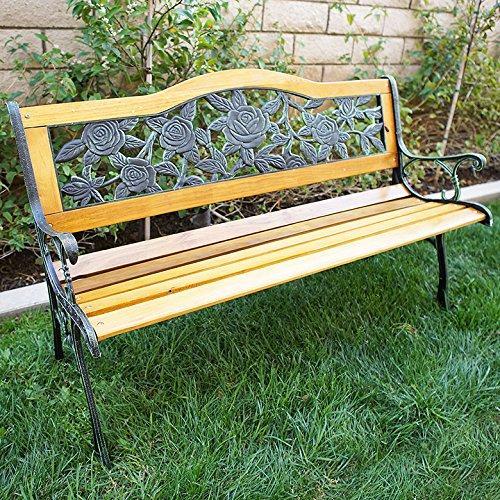 Belleze Patio Park Garden Bench Porch Path Chair Furniture Cast Iron Hardwood, Floral