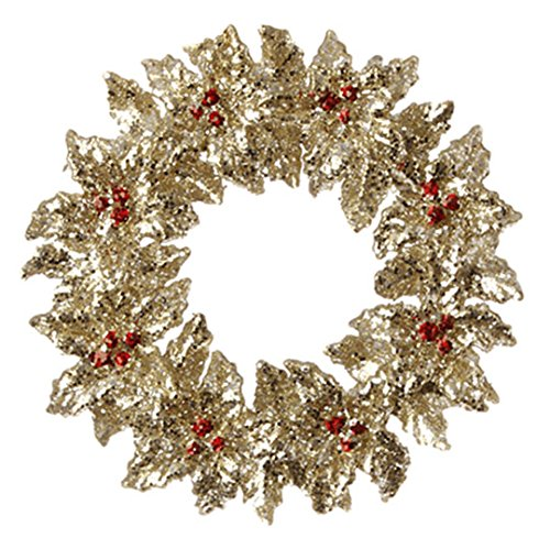 Berry Christmas Ornament - Glittered Gold Holly and Red Berry Wreath Ornament