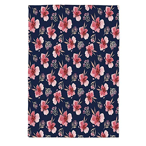 (Watercolor Waterproof Tablecloth,Nature Inspired Composition with Pink Garden Flora Vintage Artistic Petals for Dining Table Tea Table Desk Secretaire,60''W X 84''L)