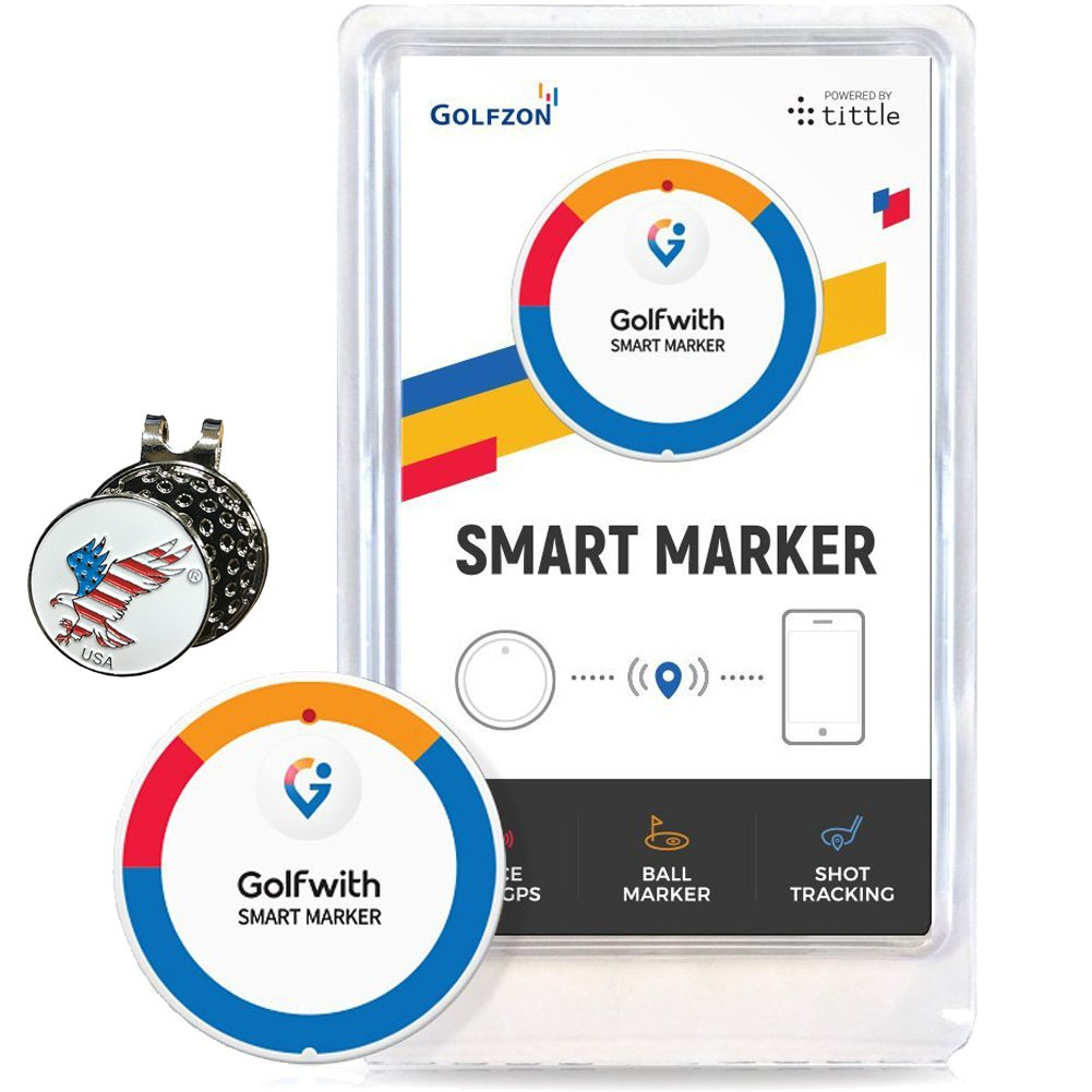 Golfwith Smart GPS Golf Ball Marker, White, Comes with Hat Clip and Custom Ball Marker Set