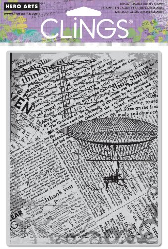 - Hero Arts Fly Away Newsprint Cling Stamp