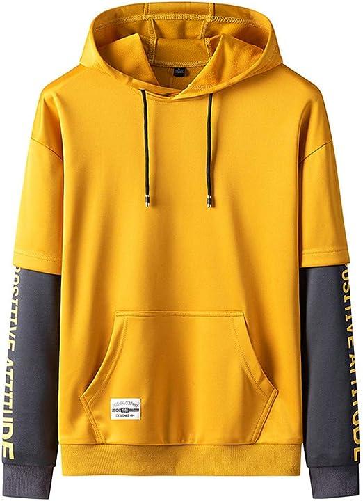 Mens Hooded Sweatshirt Mens Daily Hoodie Pullover Loose Hoody Tops