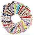 60 Pcs Fabric Cotton 100% Printed Boundle Patchwork Squares of 10*10cm by RAYLINEDO