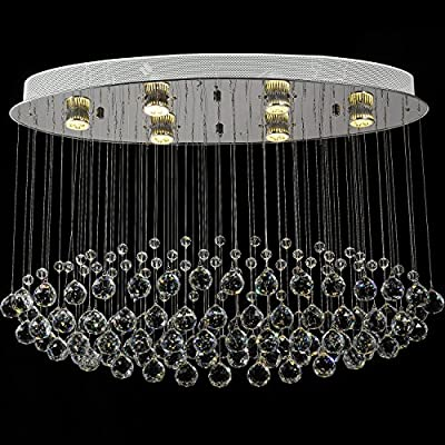 MOOOY Luxury Crystal Rain Drop Chandelier Modern Contemporary Ceiling Pendant Light with 6 Lights L31.5inch X H23.6inch