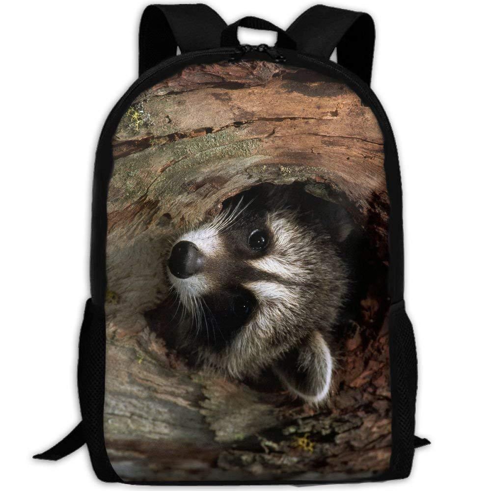 haiyingzhiyi Raccoon In A Tree Hole Luxury Print Men and Women's Travel Knapsack