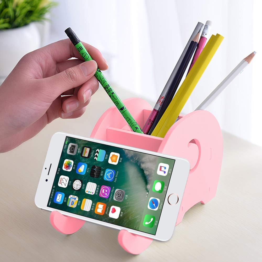 FineGood - Soporte para lápices de escritorio (2 piezas, forma de elefante, organizador multifuncional con soporte para teléfono móvil, para oficina, ...