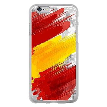 f74ee7fd60a BJJ Funda Transparente para [ iPhone 6 6S ], Carcasa de Silicona Flexible  TPU, diseño: Bandera españa, Pintura de brocha Sobre Fondo Abstracto: Amazon.es:  ...