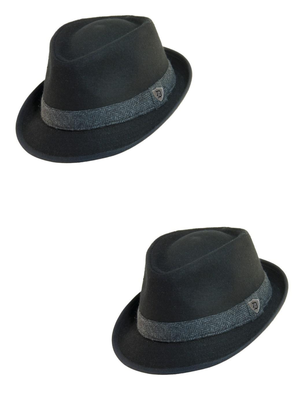 Dorfman Pacific Men's Wool Blend Fedora Hat with Herringbone Band (Pack of 2)
