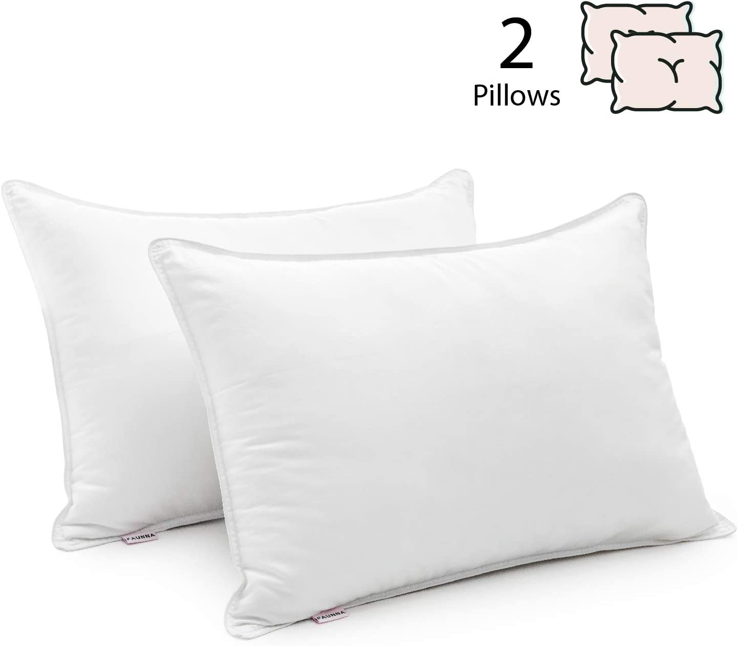 FAUNNA, Bed Pillows for Sleeping King Size 2 Pack, Side Sleeper Cooling Pillow with Soft Gel Fiber Down Alternative Fill