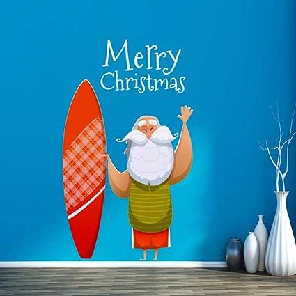 DIYthinker Adornos de Navidad con la ilustración de Papá Noel con tabla de surf Feliz Navidad