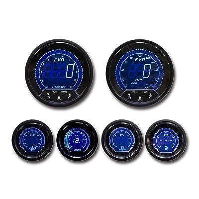 MOTOR METER RACING EVO Series Digital 6 Gauge Set Includes GPS Sensor mounting kit: Automotive [5Bkhe0914603]