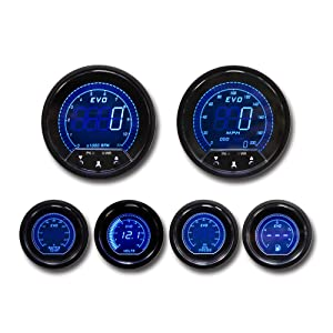 MOTOR METER RACING EVO Series 6 Piece Gauge Set Blue Red Backlit Include Speedometer Sensor mounting kit