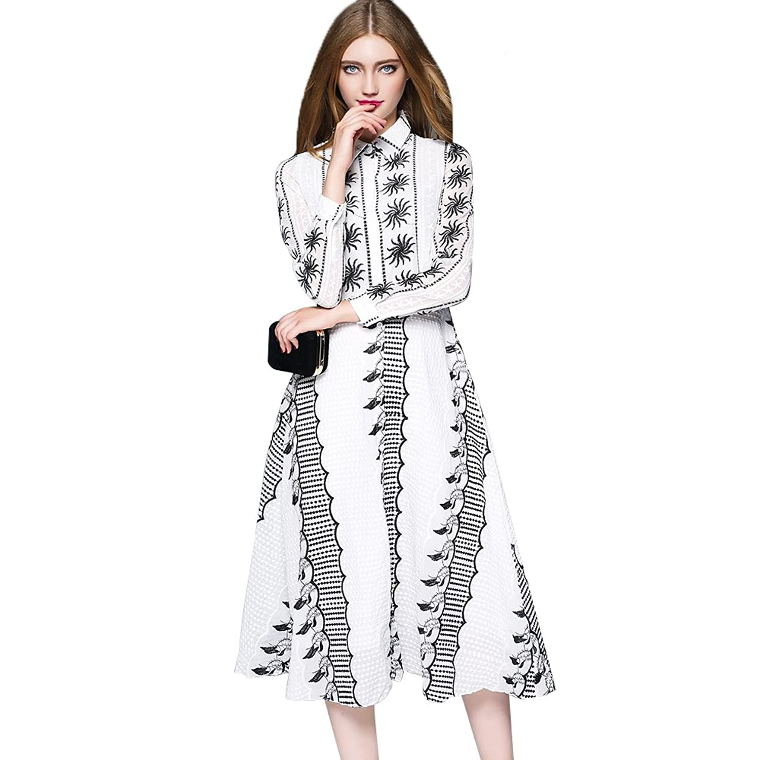 Dezzal Women's Long Sleeve Embroidered Fit and Flare Midi Shirt Dress