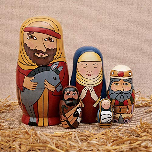 yuye-xthriv Display Mold 5Pcs/Set Hand Painted Nativity Family Wooden Nesting Dolls Matryoshka Kids Toy IQ Test Mind Game Toys Stress Relief Birthday Gifts for Kids