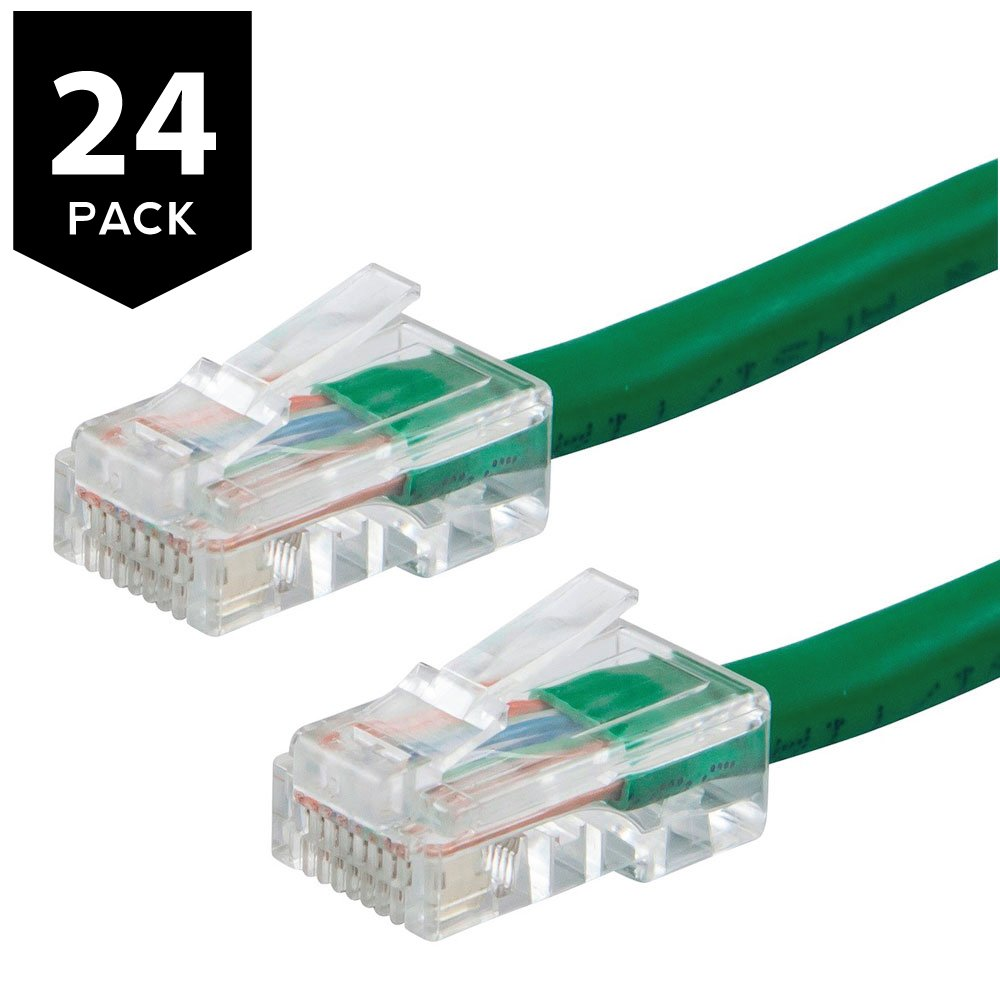 Buhbo 15Ft Cat6 UTP Ethernet Network Non Booted Cable (24-Pack), Green
