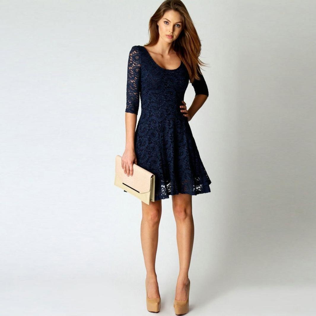Robe Femme, DoraMe Mode Femmes Mini robe courte Dentelle Demi manche Soirée  de fête shirt (M, Bleu)  Amazon.fr  Hygiène et Soins du corps 1566f9201d35