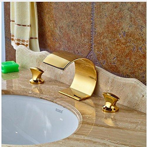 Gowe Swivel Spout Tap Deck Mounted Gold Polish Basin Faucet Bathroom 3pcs Vanity Sink Tap 0