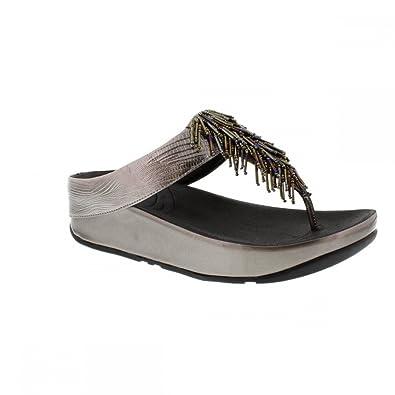 0b715309ca6a FitFlopTM Cha ChaTM Nimbus Silver Ladies Flip Flops (4)  Amazon.co ...