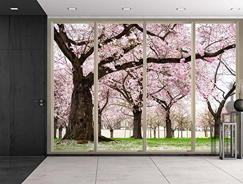Petals Falling from Cherry Blossom Trees Viewed From Sliding Door Creative Wall Mural Peel and Stick Wallpaper