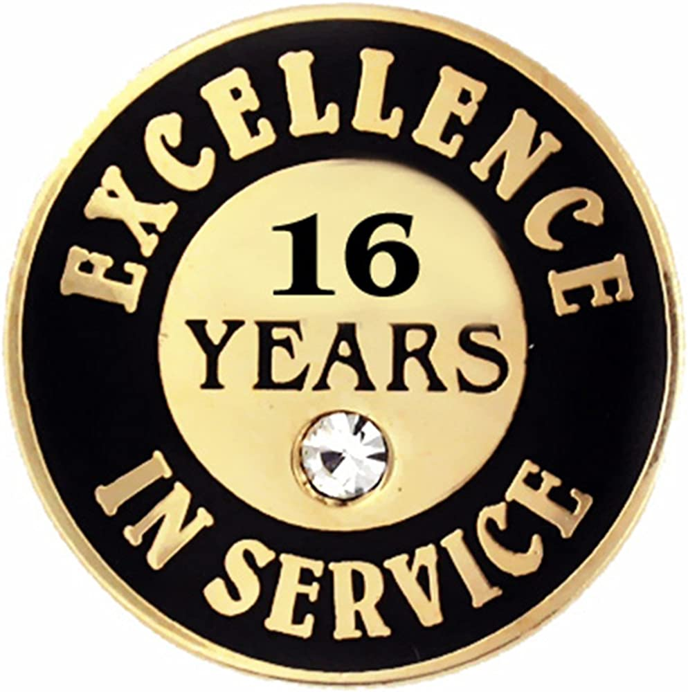 PinMart Gold Plated Excellence in Service 16 Year Award Lapel Pin