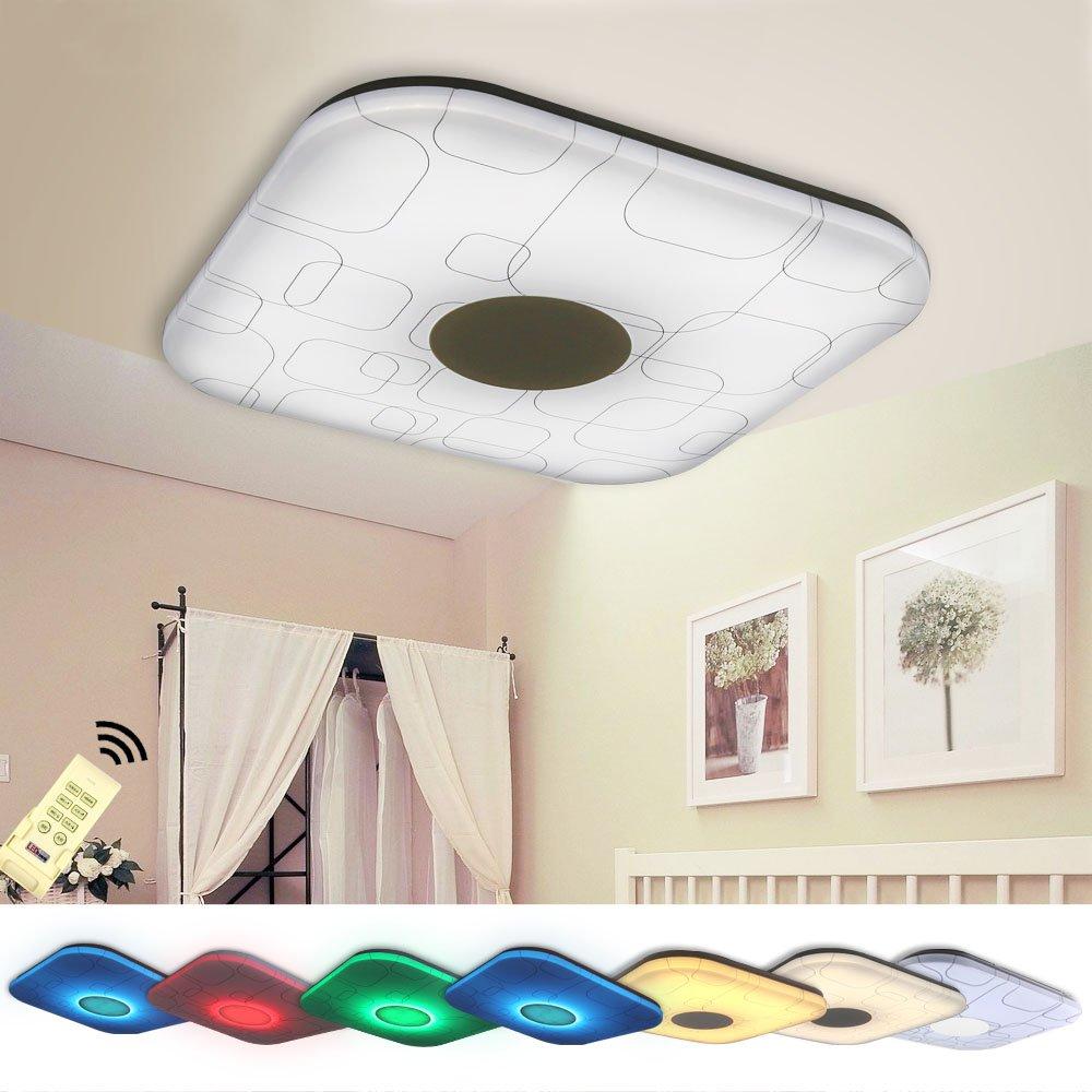 NatsenR 24W Modern Deckenlampe LED Deckenleuchte RGB Nachtlicht Voll Dimmbar Fernbedienung 460460mm 1920 2400Lumen YX809F Amazonde Beleuchtung