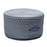Colonial Mills Braided Round pouf/ottoman 20''x20''x11'' in Blue Ice Color From Bright Twist Pouf Collection