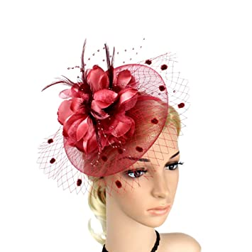 a30559b2955d Amazon.com : Fascinators Hairband with Clip, Charming Big Flower ...