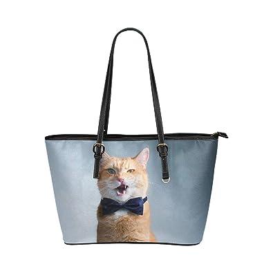 Gato con corbata Retrato Grande cuero Manija superior portátil ...