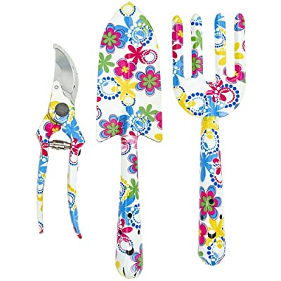 Floral Design Gardening Tools, Set of 3 - Southern Homewares - Clippers, Trowel, and Weeding Fork : Garden & Outdoor